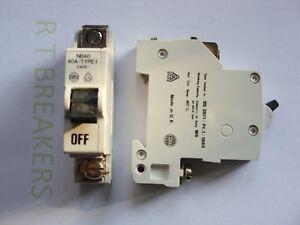 WYLEX 40 AMP TYPE B SINGLE POLE MCB BREAKER NB40 STOTZ KONTAKT BS3871 TYPE 1
