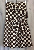 NWT Womens Junior Size 5 Dress Polka Dot Brown Ivory W/ Bow Lined Fancy Short