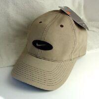 NIKE SWOOSH Tan Khaki Cotton Hat Cap Mens Size OSFA NEW NWT #572744