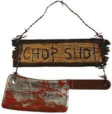 HALLOWEEN CHOP SHOP SIGN CLEAVER BUTCHER CEMETARY GRAVEYARD DECORATION PROP