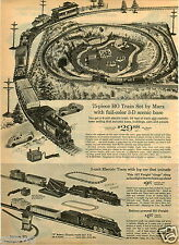 1965 PAPER AD Marx 75 Piece HO Toy Train Set 3D Electric 34' Track Length