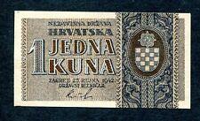Nazi Germany WWII Yugoslavia Croatia 1 Kuna 25.9.1942 2-Letter SN Prefix UNC