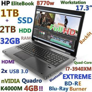 "Workstation 17.3"" HP 8770W i7-Extreme BD-RE (1TB SSD + 2TB HDD) 32GB K4000M-4GB"