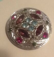 SARAH COVENTRY Signed Vintage Rhinestone Brooch Pin Flower Silver Tone Jewelry