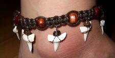Surfer anklet Women Girls Jewelry Da068 Genuine Mako Shark Tooth Teeth Beads