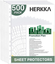 Sheet Protectors Top Loading Clear Reinforced 11 Hole Fit 3 Ring Binder 500 Pack
