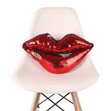 Hot Red Lip Magic Reversible Sequin Mermaid Glitter Pillow Sofa Car Cushion UK