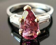 2.63TCW Rich Pink Pear Tourmaline Diamond Platinum ring
