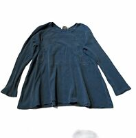 SOFT SURROUNDINGS Women's Size XL Washed Blue CAMDEN TOP Waffle Knit Tunic
