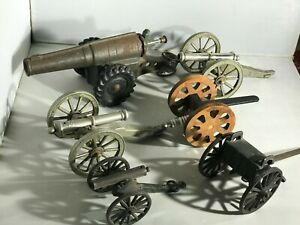 Lot 6 Assorted Cast Iron / Die Cast Vintage Toy Cannons