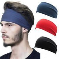 Mens Wide Headband Sweatband Stretch Elastic Sport Gym Yoga Run Solid Hairband