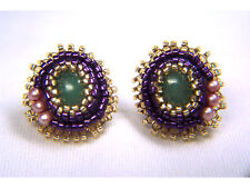 Aventurine with Pink Pearls-Earrings with Seed Beads