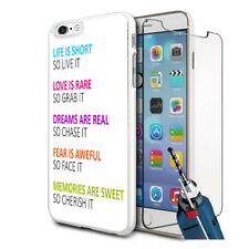 Life Is Short Design Hard Case Cover & Glass For Various Mobiles