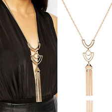 Fashion Lady Long Necklace Sweater Chain Geometric Metal Tassel Pendant Jewelry