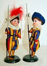 "6.5"" ANTIQUE PAIR BISQUE VATICAN SOLDIERS ALL ORIGINAL FROM ROME ITALY ON STANDS"