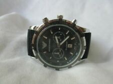 Emporio Armani Chronograph Watch with Rubber Buckle Band WORKING!