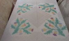 "Vintage White Irish Rayon Damask Tablecloth ~ 52"" X 49"" ~ Coloured Thistles"