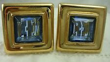 VTG GIVENCHY PARIS NEW YORK STATEMENT BLUE RHINESTONE SQUARE GOLD TONE  EARRINGS