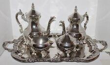 Vtg 5 pc International Silver Company Silver Plate Tea Set with Handle Tray -EUC