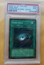 Yugioh DARK HOLE 1st Ed. New Super Rare LOB-052 PSA 9 Mint First Print Run Rare!