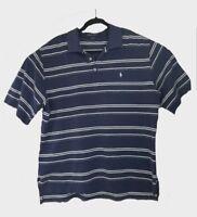 Polo Golf Ralph Lauren Shirt Mens L Blue White Striped Casual Short Sleeve