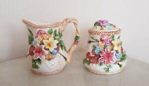 Vintage Porcelain Creamer And Suggar Pot With Flower Details
