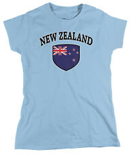 New Zealand Flag Country Pride Crest Soccer All Whites Football Womens T-Shirt