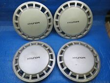 "SET OF 4 1980s HYUNDAI 13"" SILVER HUBCAP WHEEL COVER SD3"