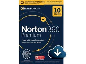 Norton 360 Premium 2020 10-Devices 1 year Digital Download+75GB Cloud -via Email