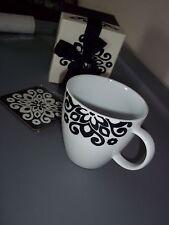 Bed Bath and Beyond Black Flowers Coffee Coco Mug with coaster Gift Set NIB