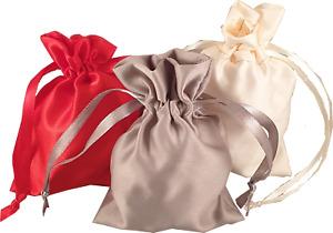 Soft Smooth Pearl Satin Silk Drawstring Pouches Jewellery Wedding Medium Large