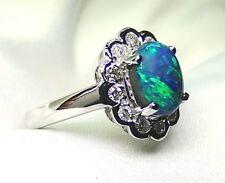 Ladies 18K White Gold Ring with 1.85 Carat Lightning Ridge Opal with Diamonds