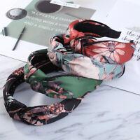 Women's Turban Twist Knot Headband Floral Flower Head Wrap Wide Hair Band