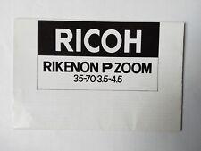 Ricoh Rikenon P Zoom 35-70mm f/3.5-4.5 original printed instruction manual