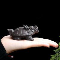 Chinese YiXing ZiSha Tea Pet Turtle Purple Clay Tea Play On Tea Table Small Size