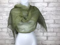 Green Ombre Semi Sheer Chiffon Scarf With Fringe Viscose 71x29""