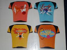 "New in Box set of 4 LUMINARC ""BOWLING NIGHT"" Snack Plates Retro Bowling Shirts"
