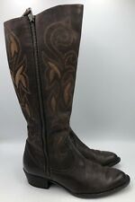 Born Crown Brown Leather Tall Western Boots Womens Size 9