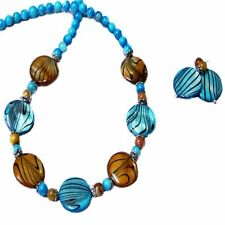Necklace earrings set Aqua Blue and Gold Mother of Pearl choose your fittings