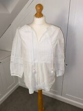 Joules (Size 12) Ladies White Broderie 3/4 Length, Summer Empire Cut Top. VGC.