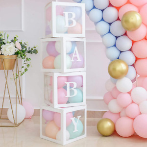 Baby Clear Boxes with Letters for Gender Reveal Decorations Transparent Baby Blo
