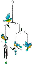 Glass Triple Bird Hanging Birds Wind Chime Blue Green Yellow WC 73124