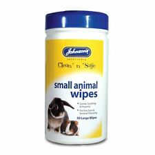Johnsons Small Animal Cleaning Cloth Wipes Gentle Ear Eyes Rabbit Guinea Pig