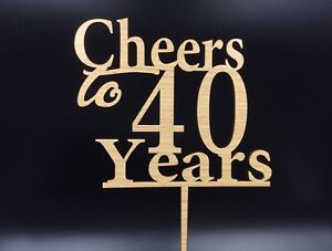 Cheers to 40 Years Forty Birthday Cake Topper Oak Veneer 3mm MDF Wooden Decor
