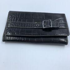 Franco Sarto Wallet Organizer Foldover Clutch Purse Black Textured Zip Pockets