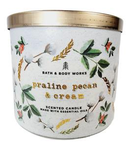 Bath & Body Works PRALINE PECAN & CREAM 3 Wick Scented Candle 14.5oz NEW