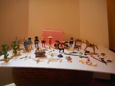 Vintage 1974 & 1986 Playmobil 6 Figurines, Guns & Gun Rack, Horses and More