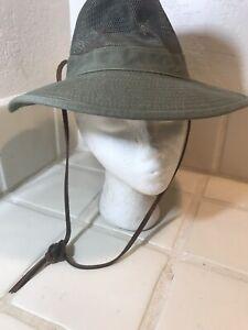 Dorfman Pacific Safari Brown Green 100% Cotton Air Vented Bush Hat Leather Strap