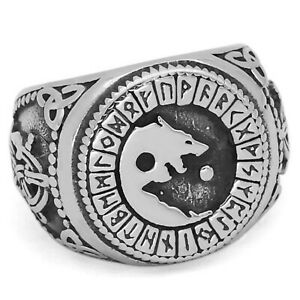 Viking Fenrir Ring Silver Stainless Steel Norse Wolf Signet Band Sizes 9-13