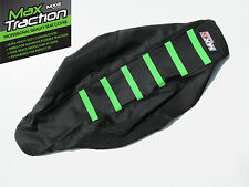 KAWASAKI KXF450 09-11 RIBBED GRIPPER SEAT COVER BLACK WITH GREEN STRIPES RIBS